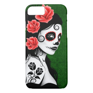 Day of the Dead Sugar Skull Girl – Green iPhone 8/7 Case