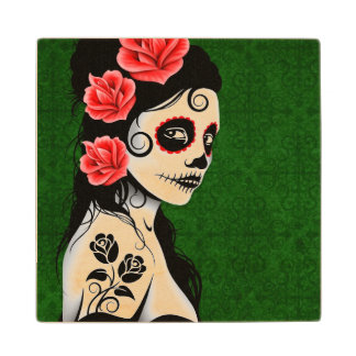 Day of the Dead Sugar Skull Girl – Green Maple Wood Coaster