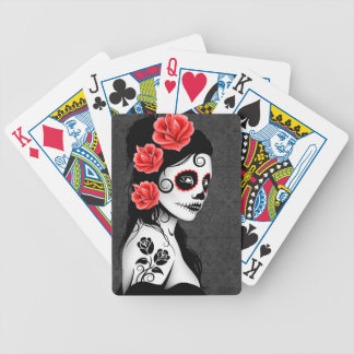 Day of the Dead Sugar Skull Girl - grey Bicycle Playing Cards