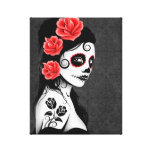Day of the Dead Sugar Skull Girl - Grey Gallery Wrapped Canvas