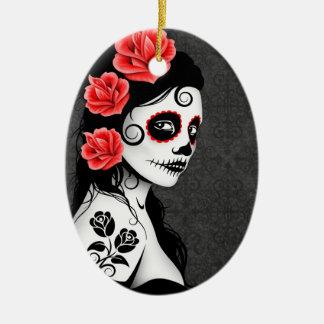 Day of the Dead Sugar Skull Girl - grey Christmas Ornament