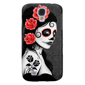 Day of the Dead Sugar Skull Girl - grey Galaxy S4 Case