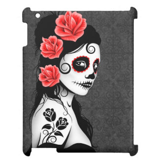 Day of the Dead Sugar Skull Girl - Grey iPad Cover
