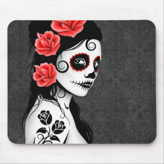 Day of the Dead Sugar Skull Girl - grey Mouse Mat