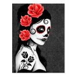 Day of the Dead Sugar Skull Girl - Grey Post Card