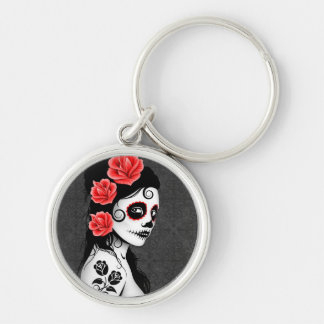 Day of the Dead Sugar Skull Girl - grey Silver-Colored Round Key Ring