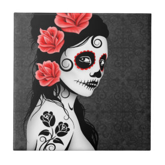 Day of the Dead Sugar Skull Girl - grey Small Square Tile