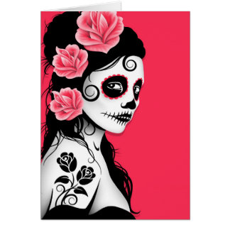 Day of the Dead Sugar Skull Girl - pink Card