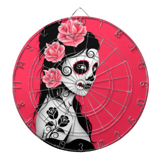 Day of the Dead Sugar Skull Girl - Pink Dartboard