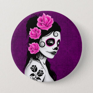 Day of the Dead Sugar Skull Girl - purple 7.5 Cm Round Badge