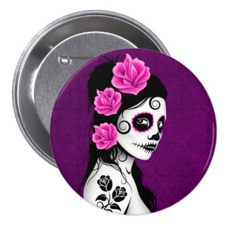 Day of the Dead Sugar Skull Girl - purple 7.5 Cm Round Badge
