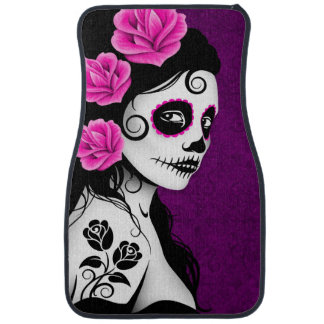 Day of the Dead Sugar Skull Girl Purple Car Mat