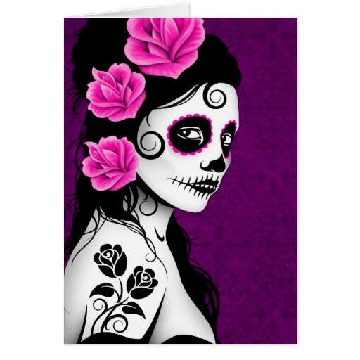 Day of the Dead Sugar Skull Girl - purple Greeting Card