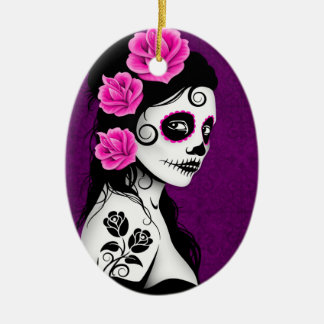 Day of the Dead Sugar Skull Girl - purple Ceramic Oval Decoration