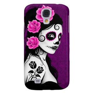 Day of the Dead Sugar Skull Girl - purple Galaxy S4 Case