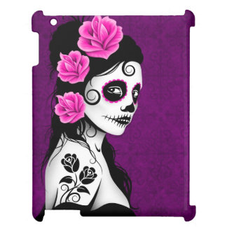 Day of the Dead Sugar Skull Girl - Purple iPad Case