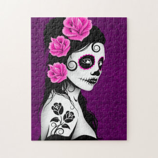 Day of the Dead Sugar Skull Girl - purple Jigsaw Puzzle