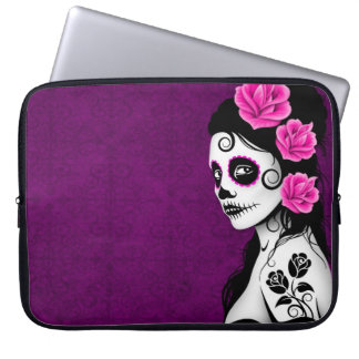 Day of the Dead Sugar Skull Girl - purple Laptop Sleeve