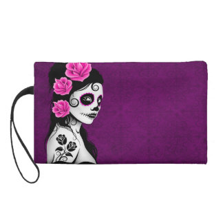Day of the Dead Sugar Skull Girl - purple Wristlet Clutches
