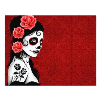 Day of the Dead Sugar Skull Girl - red 11 Cm X 14 Cm Invitation Card