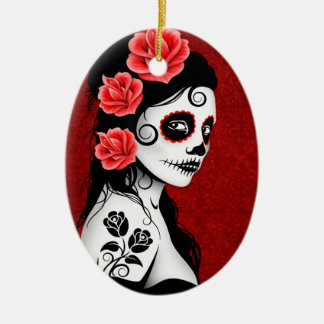 Day of the Dead Sugar Skull Girl - red Ceramic Oval Decoration