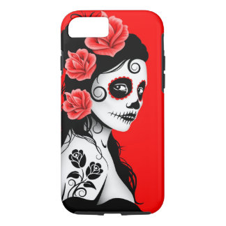 Day of the Dead Sugar Skull Girl – Red iPhone 7 Case