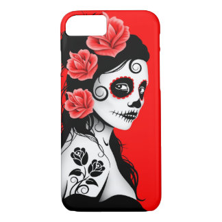 Day of the Dead Sugar Skull Girl – Red iPhone 8/7 Case