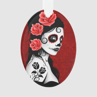 Day of the Dead Sugar Skull Girl - Red Ornament