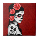 Day of the Dead Sugar Skull Girl - red Small Square Tile