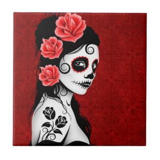 Day of the Dead Sugar Skull Girl - red Tile