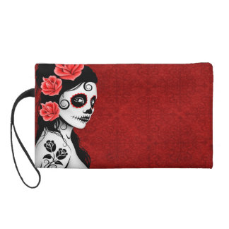 Day of the Dead Sugar Skull Girl - red Wristlet Purses