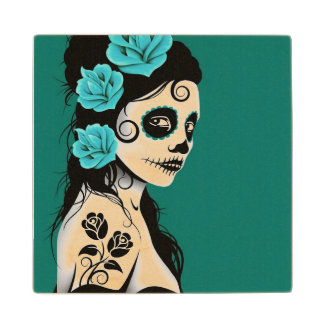 Day of the Dead Sugar Skull Girl – Teal Blue Wood Coaster