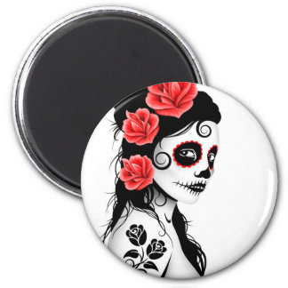 Day of the Dead Sugar Skull Girl - white 6 Cm Round Magnet