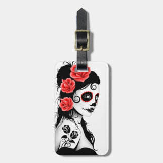 Day of the Dead Sugar Skull Girl - white Bag Tag