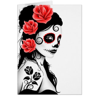 Day of the Dead Sugar Skull Girl - white Greeting Card