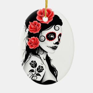 Day of the Dead Sugar Skull Girl - white Christmas Ornament