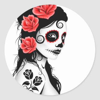 Day of the Dead Sugar Skull Girl - white Classic Round Sticker