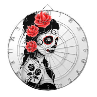 Day of the Dead Sugar Skull Girl - white Dartboard