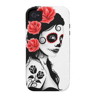 Day of the Dead Sugar Skull Girl - white iPhone 4 Cover