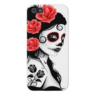 Day of the Dead Sugar Skull Girl - white iPhone 5 Covers