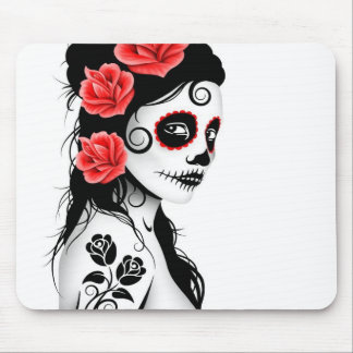 Day of the Dead Sugar Skull Girl - white Mouse Pad
