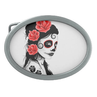 Day of the Dead Sugar Skull Girl - white Oval Belt Buckle