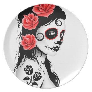 Day of the Dead Sugar Skull Girl - white Plate