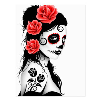 Day of the Dead Sugar Skull Girl - white Postcard