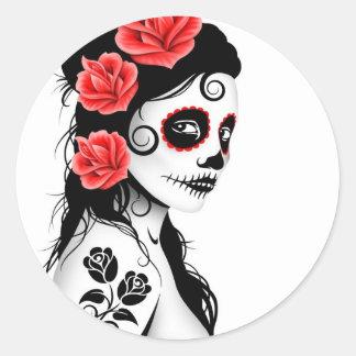 Day of the Dead Sugar Skull Girl - white Round Sticker