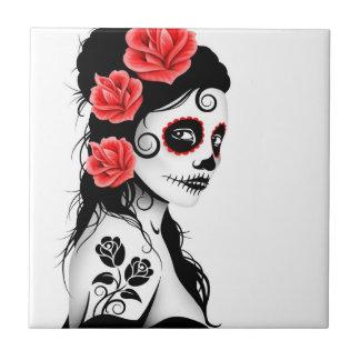 Day of the Dead Sugar Skull Girl - white Tile