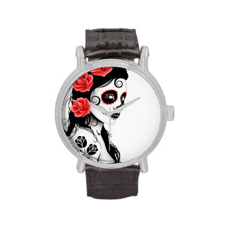 Day of the Dead Sugar Skull Girl - white Wristwatch