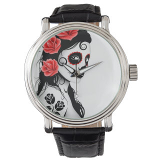 Day of the Dead Sugar Skull Girl - white Watch
