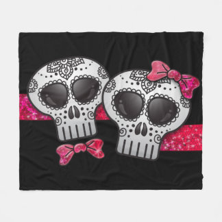 Day of the Dead Sugar Skull Girly Hot Pink Glitter Fleece Blanket