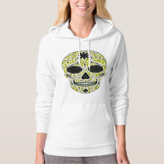 Day of the Dead Sugar Skull - Gold, Black & Green Hooded Pullover